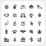 Geplaatste de pictogrammen van de aard Royalty-vrije Stock Afbeeldingen