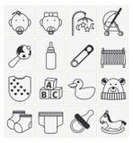 Geplaatste de pictogrammen van de baby Stock Fotografie