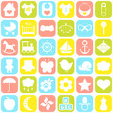 Geplaatste de pictogrammen van de baby Stock Foto