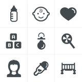 Geplaatste de pictogrammen van de baby Royalty-vrije Stock Foto