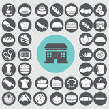 Geplaatste de pictogrammen van de bakkerij Stock Foto's