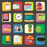 Geplaatste de pictogrammen van de bedrijfsbureaukantoorbehoeften Stock Afbeeldingen