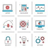 Geplaatste de pictogrammen van de bedrijfspuntenlijn vector illustratie