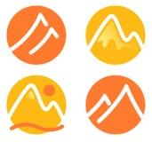 Geplaatste de pictogrammen van de berg Stock Foto