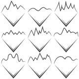 Geplaatste de pictogrammen van de berg Lijnart. Royalty-vrije Stock Foto's