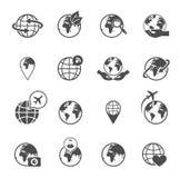 Geplaatste de pictogrammen van de bolaarde Stock Foto's