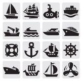 Geplaatste de pictogrammen van de boot en van het schip stock illustratie