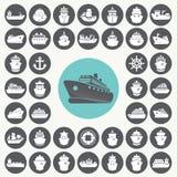 Geplaatste de pictogrammen van de boot en van het schip Stock Foto