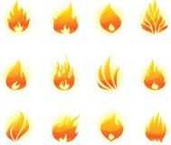 Geplaatste de pictogrammen van de brand Stock Foto