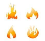 Geplaatste de Pictogrammen van de brand   Stock Afbeelding