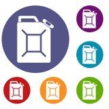 Geplaatste de pictogrammen van de brandstofjerrycan Royalty-vrije Stock Foto