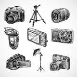 Geplaatste de pictogrammen van de cameraschets Stock Afbeelding