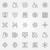 Geplaatste de pictogrammen van de chemielijn Stock Afbeelding