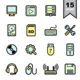 Geplaatste de pictogrammen van de computer Stock Afbeelding