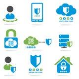 Geplaatste de pictogrammen van de computerbeveiligingwebsite Stock Afbeeldingen