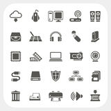 Geplaatste de pictogrammen van de computerhardware Stock Afbeelding