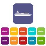 Geplaatste de pictogrammen van de cruisevoering Royalty-vrije Stock Foto