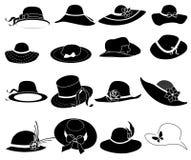 Geplaatste de pictogrammen van de dameshoed royalty-vrije illustratie