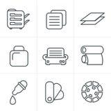 Geplaatste de pictogrammen van de de Stijldruk van lijnpictogrammen Royalty-vrije Stock Fotografie