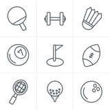 Geplaatste de pictogrammen van de de Stijlsport van lijnpictogrammen Stock Foto's