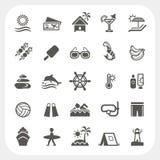 Geplaatste de pictogrammen van de de zomervakantie Stock Fotografie