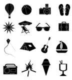 Geplaatste de pictogrammen van de de zomervakantie Royalty-vrije Stock Foto's