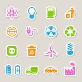 Geplaatste de pictogrammen van de Ecoenergie. Stock Fotografie