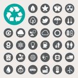 Geplaatste de pictogrammen van de Ecoenergie. Stock Afbeeldingen
