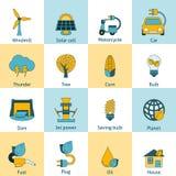 Geplaatste de pictogrammen van de Ecoenergie Stock Foto's
