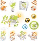 Geplaatste de pictogrammen van de ecologie Stock Foto