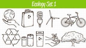 Geplaatste de pictogrammen van de ecologie Hand getrokken illustratie Vector stock illustratie