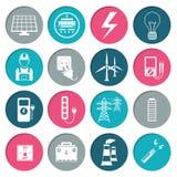 Geplaatste de pictogrammen van de elektriciteitsmacht Royalty-vrije Stock Afbeeldingen