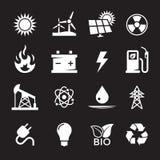 Geplaatste de pictogrammen van de energie vector illustratie