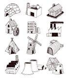 Geplaatste de pictogrammen van de fabriek Vector illustratie Stock Foto's
