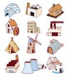 Geplaatste de pictogrammen van de fabriek Vector illustratie Royalty-vrije Stock Foto