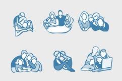 Geplaatste de pictogrammen van de familie Royalty-vrije Stock Foto's