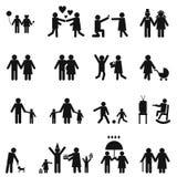 Geplaatste de pictogrammen van de familie Stock Fotografie