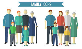 Geplaatste de pictogrammen van de familie Traditionele cultuur Vector Stock Afbeelding