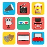 Geplaatste de pictogrammen van de film Royalty-vrije Stock Fotografie