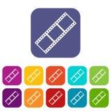 Geplaatste de pictogrammen van de filmstrook Royalty-vrije Stock Afbeelding