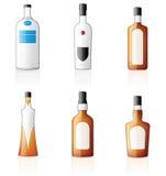 Geplaatste de Pictogrammen van de Flessen van de alcohol Royalty-vrije Stock Foto's
