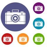 Geplaatste de pictogrammen van de fotocamera Royalty-vrije Stock Afbeelding