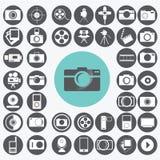 Geplaatste de Pictogrammen van de fotografie Stock Afbeelding
