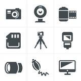 Geplaatste de Pictogrammen van de fotografie Stock Fotografie