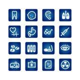 Geplaatste de pictogrammen van de geneeskunde en van de gezondheid Royalty-vrije Stock Afbeeldingen