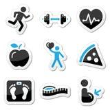 Geplaatste de pictogrammen van de gezondheid en van de geschiktheid Royalty-vrije Stock Foto's