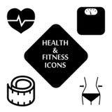 Geplaatste de pictogrammen van de gezondheid en van de geschiktheid Vector illustratie Stock Afbeeldingen