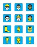 Geplaatste de pictogrammen van de gezondheid en van de veiligheid Stock Foto's