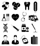 Geplaatste de pictogrammen van de gezondheidszorg royalty-vrije illustratie