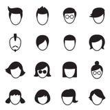 Geplaatste de pictogrammen van de haarstijl Stock Afbeelding